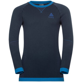 Odlo Performance Warm LS Rundhalsshirt Kinder diving navy/energy blue